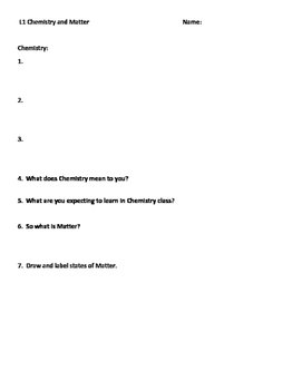 Introduction to Chemistry L1 Worksheet to PP