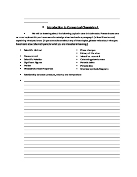 Chemistry Introductory Paragraph Activity