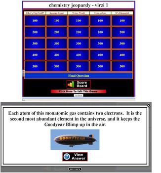 Chemistry Jeopardy (3 games)