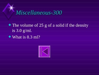 Chemistry Jeopardy-Introduction to Matter