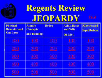 Chemistry Jeopardy Regents Review (High School)