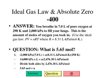 Chemistry Jeopardy Review - Gas Laws & Properties of Liquids & Solids