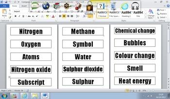 Chemistry Key Word Cards and Suggested Activities