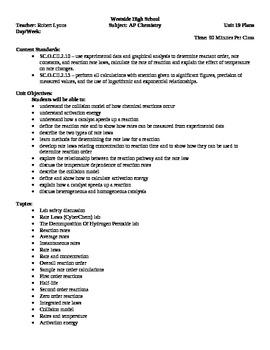 Chemistry - Kinetics Block Schedule Lesson Plan