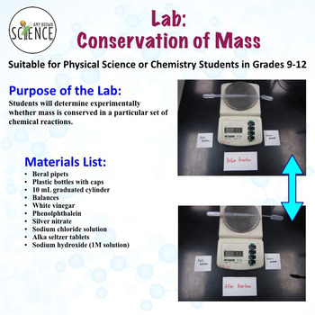 conservation of mass lab by amy brown science teachers pay teachers. Black Bedroom Furniture Sets. Home Design Ideas