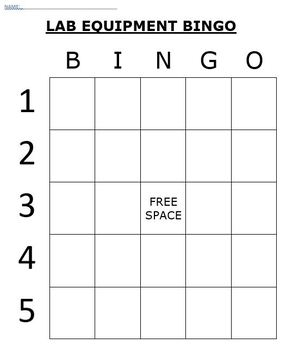 Chemistry Lab Equipment Bingo