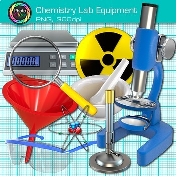 Chemistry Lab Equipment Clip Art {Beakers, Test Tubes, Flasks, & Microscope}