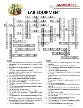 Lab Equipment Crossword By Tangstar Science Tpt