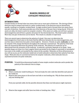 Chemistry Lab: Molecular Models of Covalent Compounds (Polar or ...