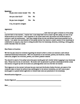 Chemistry - Lab Rules and Student Safety Contract