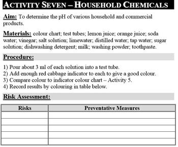 Chemistry Laboratory Activities - Atoms, Reactions, Acids & Bases