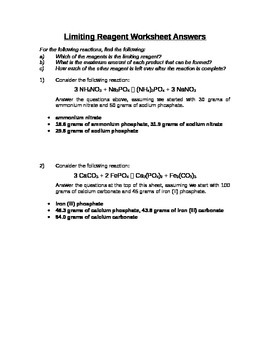 Chemistry - Limiting Reagent Worksheet - Stoichiometry