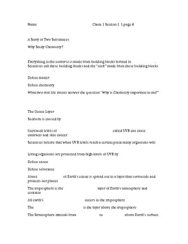 Chemistry Matter and Change Glencoe Chapter 1 Section 1 notes