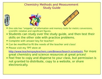 Chemistry Measurements Study Guide with Practice Worksheet