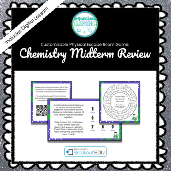 Chemistry Midterm Review Customizable Escape Room / Breakout Game