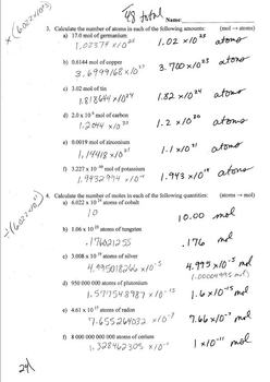 Chemistry Mol Conversion Review WS #1