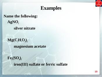Chemistry - Nomenclature PowerPoint