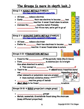 NGSS Regents Chemistry Note Packet - Unit 3: Periodic Table