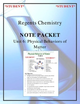 Chemistry Note Packet - Unit 6: Physical Behaviors of Matter