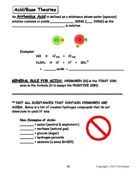 Chemistry Note Packet - Unit 9: Acids, Bases & Salts