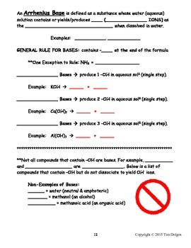NGSS Regents Chemistry Note Packet - Unit 9: Acids, Bases & Salts
