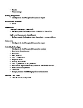 Chemistry - Organic Chemistry Block Schedule Lesson Plan