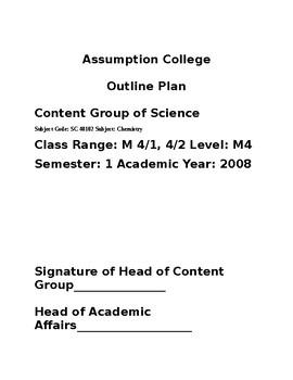 Chemistry Outline Plan for 10th grade Chemistry part 1 of 3