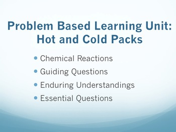 Chemistry PBL Unit Plan: What are Hot/Cold Packs and Why are They Used?