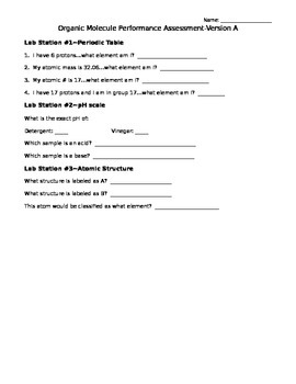 Chemistry Performance Assessment/Lab Centers