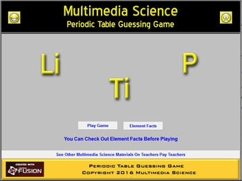 Chemistry - Periodic Table Game - PC & MAC Flash Version