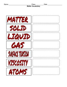 Chemistry / Physical Science Vocabulary - States of Matter
