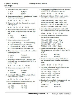 NGSS Regents Chemistry Practice Packet - Unit 10: Electrochemistry (Redox)