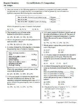 NGSS Regents Chemistry Practice Packet - Unit 5: Moles & Stoichiometry