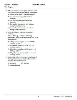 Chemistry Practice Packet - Unit 8: Kinetics & Equilibrium