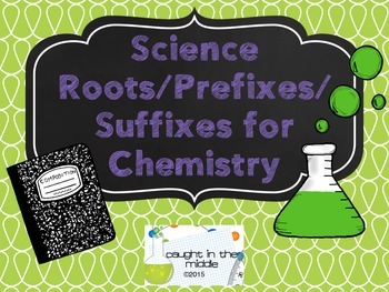 Chemistry Prefixes, Suffixes, and Roots Display Cards (Purple/Green Version)
