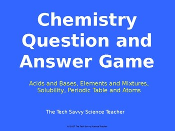 Chemistry Question and Answer Game Show Review Game