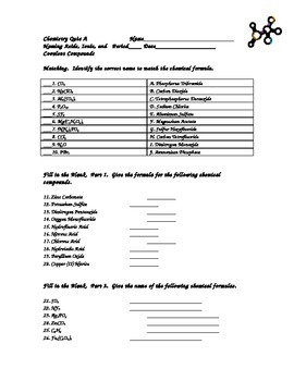 Chemistry Quiz Formula Writing and Naming Ionic, Covalent,