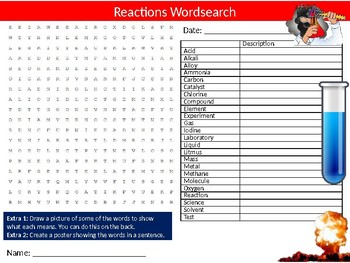 Chemistry Reactions Wordsearch Sheet Starter Activity Keywords Cover Science