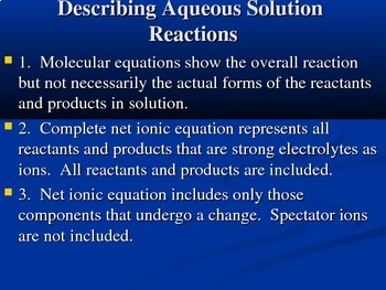 Chemistry Reactions in Aqueous Solutions and Types of Reactions