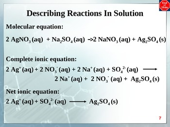 Chemistry - Reactions in Solution PowerPoint