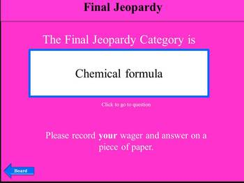 Chemistry Regents Exam Review: a fun & interactive Jeopardy w/Scoreboard (Game2)