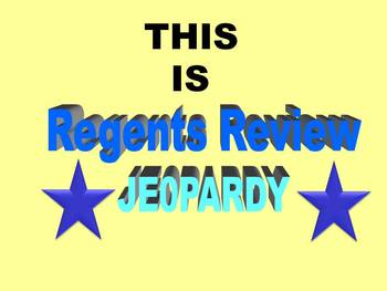 Chemistry Regents Exam Review: a fun & interactive Jeopardy w/Scoreboard (Game3)
