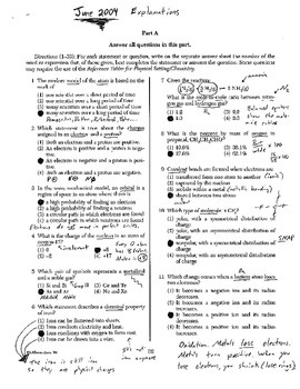 Chemistry Regents Explanation (June 2004)