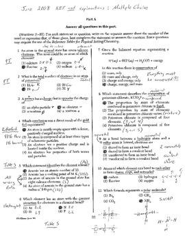 Chemistry Regents Explanation (June 2008)