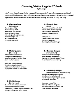 Chemistry Songs for 3rd Graders