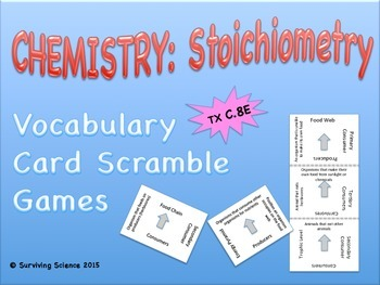 Chemistry: Stoichiometry Vocabulary Scramble Game (C.8E)
