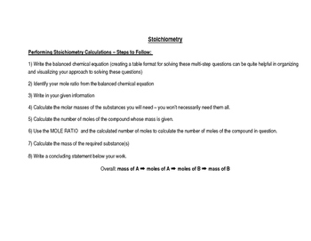 Chemistry: Stoichiometry Guided Note
