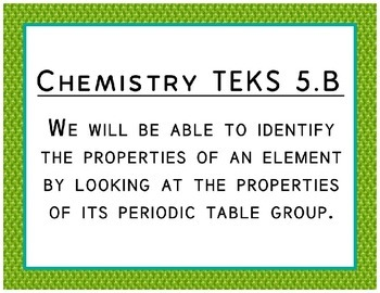 "Chemistry TEKS Cards for Bulletin Boards Objectives Made More ""Student Friendly"""