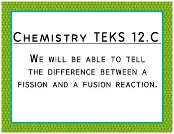 """Chemistry TEKS Cards for Bulletin Boards Objectives Made More """"Student Friendly"""""""