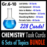 Chemistry Task Cards BUNDLE - 6 Sets of Topics {With Editable Templates}